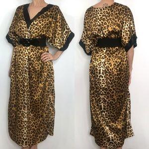 Vintage Winlar Leopard Print Caftan Maxi Dress